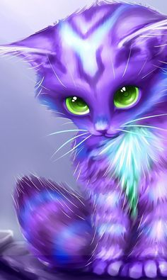 Aprille sale cute diamond embroidery icon animals purple cat diamond painting mosaic pattern rhinestones picture by numbers Cute Animal Drawings, Kawaii Drawings, Cute Drawings, Cute Fantasy Creatures, Mythical Creatures Art, Baby Animals Super Cute, Cute Little Animals, Cute Cartoon Animals, Anime Animals