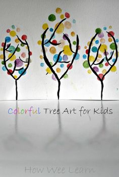 Such a pretty and colorful spring art project for kids. These beautiful trees are so simple and a great craft!