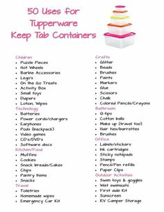 Here is a list of 50 uses for the Tupperware Keep Tab Containers! Can you think of anything else these containers can be used for? Comment below! my.tupperware.com/csherman426
