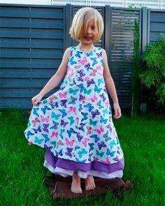 Sommerkleid Kleid Mädchen Festkleid selber nähen Anleitung Schnittmuster farbenmix