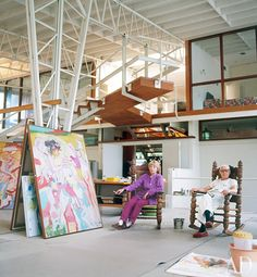 Kooning and his wife, Elaine, also an artist, decided to move to East Hampton, New York, where they had on occasion been weekend guests of Jackson Pollock. Near an unfinished painting in the studio, Elaine and Willem de Kooning relax in rocking chairs.