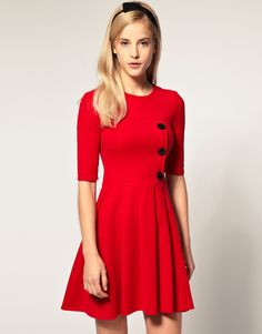 ASOS Pleated Skirt Dress with big Button Detail