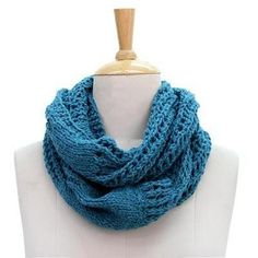 NOVICA Hand Knit All Wool Teal Infinity Scarf from Indian Artisan