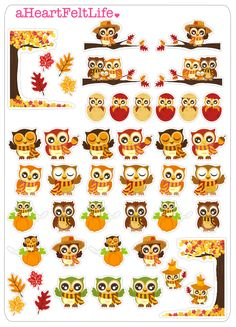 Autumn Owls Stickers for your Planner, scrapbook, calendar, etc. by aHeartFeltLife on Etsy