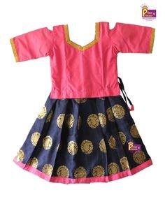 0ac56f6db07713 Kids Pink Blue Pavadai Pattu pavadai Pattu Langa Kids Traditional Ethnic  Pattu Pavadai