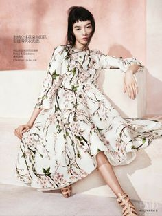 """Fei Fei Sun featured in Modern Romance, May 2014 wearing """"Cherry Blossom' Dolce/Gabbana Dress and Louboutin Sandals"""