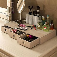 Cosmetics Makeup Organizer - Beautiful Wood Box with Three Drawers - Store Your Daily Beauty Products - Perfect for Jewelry and other Small Items Unfinished Wood *** Find out more about the great product at the image link.