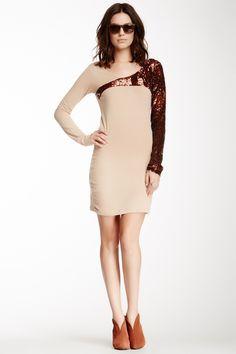 Sequin Long Sleeve Shirt Dress//