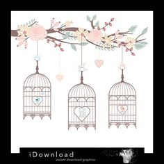 Save the date clipart BIRD CAGES & FLOWERS clipart by iDownload, €3.85