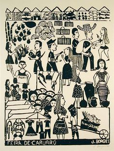 Xilogravura | J. Borges. | Cordel :)                                                                                                                                                                                 Mais Arte Popular, Art And Illustration, Collaborative Art, Process Art, Tampons, Outsider Art, Tribal Art, Woodblock Print, Drawing People
