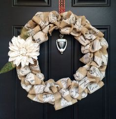 French Country Burlap Wreath by ReWoodLane on Etsy