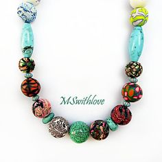 Patchwork necklace polymer clay necklace bohemian by MSwithlove
