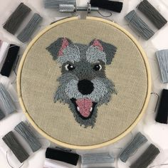 Your place to buy and sell all things handmade Embroidered Gifts, Glue Gun, Embroidery Kits, Schnauzer, Fabric Patterns, Linen Fabric, Make Your Own, Cartoon, Stitch
