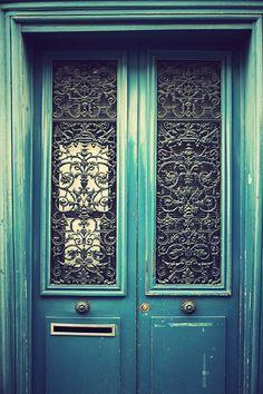 Pretty Parisian Blue/Green Door, Paris Door, Dreamy Colour, Art Decor, Interior Wall Art, size 8 x 12 inches. $30.00, via Etsy.