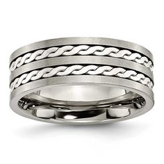 Chisel Sterling Silver Inlay Brushed and Antiqued Ring (8.0 mm), Men's