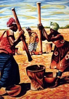 Dan Civa - African women grinding corn