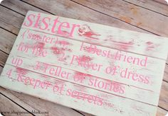 sister room decor | Melanie was inspired by the Sibling Plaques from Pottery Barn Kids .