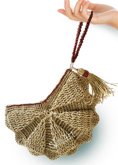 EXCLUSIVELY DESIGNED and MADE by SiMARTSHOPღ ✰READY TO SHIP✰ Roomy and comfortable Crochet Wristlet Fan Clutch Bag with Big Tassel >>Exterior: 100% Natural Raffia Straw >>Bag Color: Green smoke yellow-Straw color >>Lining: Unbleached pure cotton fabric. There is an inner pocket. >>Brown