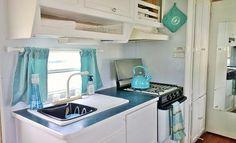 Travel Trailer kitchen remodel aqua and grey.
