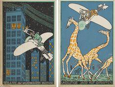 - Left:  Moriz Jung (Austrian [born Czechoslovakia], 1885–1915). Tête á Tête on the 968th Floor of a Skyscraper (Tête á Tête am Wolkenkratzer 968 Etage), 1911. Color lithograph; 5 1/2 x 3 9/16 in. (14 x 9 cm).  - Right: Moriz Jung (Austrian [born Czechoslovakia], 1885–1915). Bloodless Giraffe Hunt (Unblutige Jagd auf Giraffen), 1911. Color lithograph; 5 1/2 x 3 9/16 in. (14 x 9 cm).