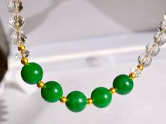 STUNNING Green Jade & Faceted Rock Crystal Gold by MarciaWhiteUK, £340.00