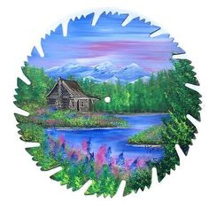 Hand Painted Saw Blade Nine Inch Summer Mountain Cabin  9 1/4 Inch