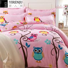 The colorful bedding sets for teenage girls features a simple look that goes great with all types of contemporary decor schemes. Update your bed in designer style with the colorful bedding sets for teenage girls. Owl Bedrooms, Girls Bedroom Sets, Girls Bedding Sets, Teen Girl Bedrooms, Small Room Bedroom, Kids Bedroom, Childrens Bedroom, Bedroom Ideas, Bedroom Wall