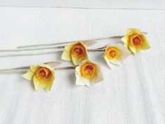 1 piece of paper daffodil Paper Daffodils Paper by MyrtleAndQuince