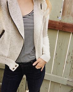 """""""There's something classically chic about a tucked in striped tee (love this one from topped off with a motto style jacket. It feels very Parisian inspired + I'm diggin' it."""" - wearing The Raglan Scoopneck Tee, IRL Oeko Tex 100, How To Dye Fabric, Striped Tee, Wearing Black, Motto, Black Stripes, Parisian, Cool Things To Buy, Scoop Neck"""