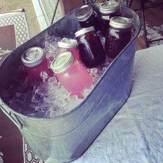 Pink lemonade & tea in mason jars. Bridal shower idea...haha yeah right!