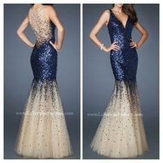 Blue and nude mermaid prom dress