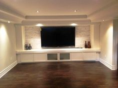 Feature tv wall with bench storage