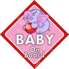 Baby on BOARD  Cute elephant Car Sticker  baby on by kasefazem, $5.99