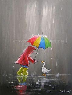 by Pete Rumney Rain Painting, Painting For Kids, Texture Painting, Art And Illustration, Rain Art, Umbrella Art, Art Lessons, Watercolor Art, Art Drawings