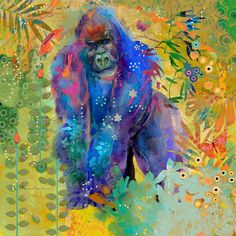 Marmont Hill Gorilla Jungle Thinker Painting Print on Canvas