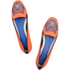 KENZO Tiger embroidered neoprene slippers ($295) ❤ liked on Polyvore featuring shoes, slippers and flats