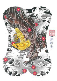 Back Piece Tattoo, Japan Tattoo, Eagle, Asia, Lunges, Kids Rugs, Birds, Artwork, Tattoos