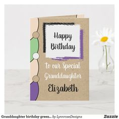 Granddaughter birthday green white rustic card Personalize this Happy Birthday Card for a special Granddaughter Designed in green, purple and black. Add a name and your message. Happy Birthday With Love *Kraft graphic rustic effect background. *Real Kraft card is not used #ad Happy Birthday Love, Happy Birthday Cards, Birthday Greeting Cards, Custom Greeting Cards, Birthday Greetings, Zazzle Invitations, Photo Cards, Thoughtful Gifts, Blue And White