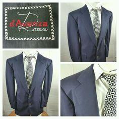 D'Avenza Roma wool 2 button blazer sport coat navy blue sz 40R U.S. logo buttons #DAvenzaRoma #TwoButton