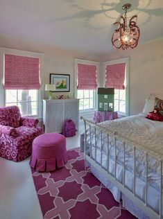 Buckingham Interiors: Fun pink girls room with light pink walls and white iron bed. Graphic pink and fushcia ...