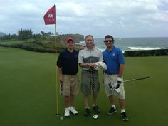 Golfers Gary Trask, Bob Fagan and Brian Oar, from Boston, California and Utah, respectively, take a moment to breathe in the beauty that is Poipu Bay Golf Course's No. 16 hole during their visit last week.