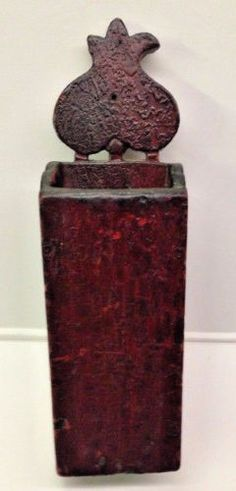 Wood-Wall-Hanging-Tulip-Candle-Box-Pantry-Box-Old-Red-Paint-amp-Rose-Head-Nails