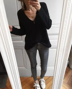 Look du jour #ootd • Necklaces Anne & Izia #emileetyvonne • Knit #sezane • Jeans #cheapmonday • Shoes #isabelmarant