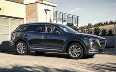 Télécharger fonds d'écran Mazda CX-9, 2018, VUS de luxe, gris CX-9, Japonais voitures, Mazda