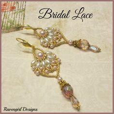 BRIDAL LACE Beaded Earrings by Ravengirl Designs  https:www.Facebook.com/RavengirlDesigns