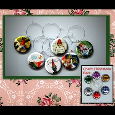 Garden Gnomes Wine Party Glass Marker Charms Set photo jewelry by Yesware11 on Etsy.. Click for details!