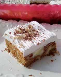 mpiskotagliko Greek Sweets, Greek Desserts, Pudding Desserts, Greek Recipes, No Bake Desserts, Easy Desserts, Sweets Recipes, Cake Recipes, Cheesecake