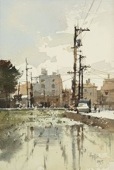 "【Taiwan Scenery / 彰化北斗,誰說台灣沒有好風景?】26 x 18 cm  watercolor Demo by Chien Chung Wei - ""Beauty is in need of imagination."""