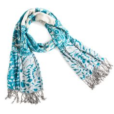 """Look fierce in this shirred teal, white and gray patterned scarf. Turn heads with this ravishing scarf.  - Viscose  - 10 1/2"""" x 66""""  - Hand wash separately  Item # LTI50001003T $28"""