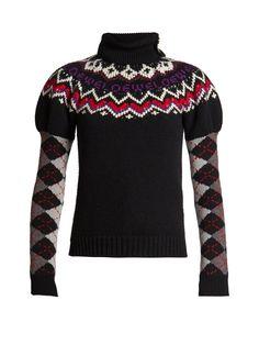 Loewe Roll-neck fairisle & argyle-intarsia wool-blend knit sweater